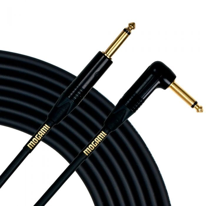 Mogami 10 Foot Right Angle Gold Instrument Cable
