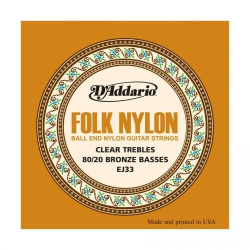 D'Addario EJ33 Folk Nylon Ball End 80/20 Bronze Guitar Strings