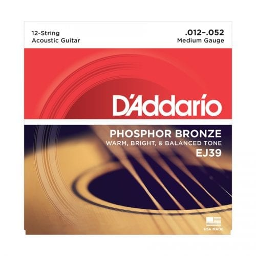 D'Addario EJ39 12 String Phosphor Bronze Medium Acoustic Guitar Strings