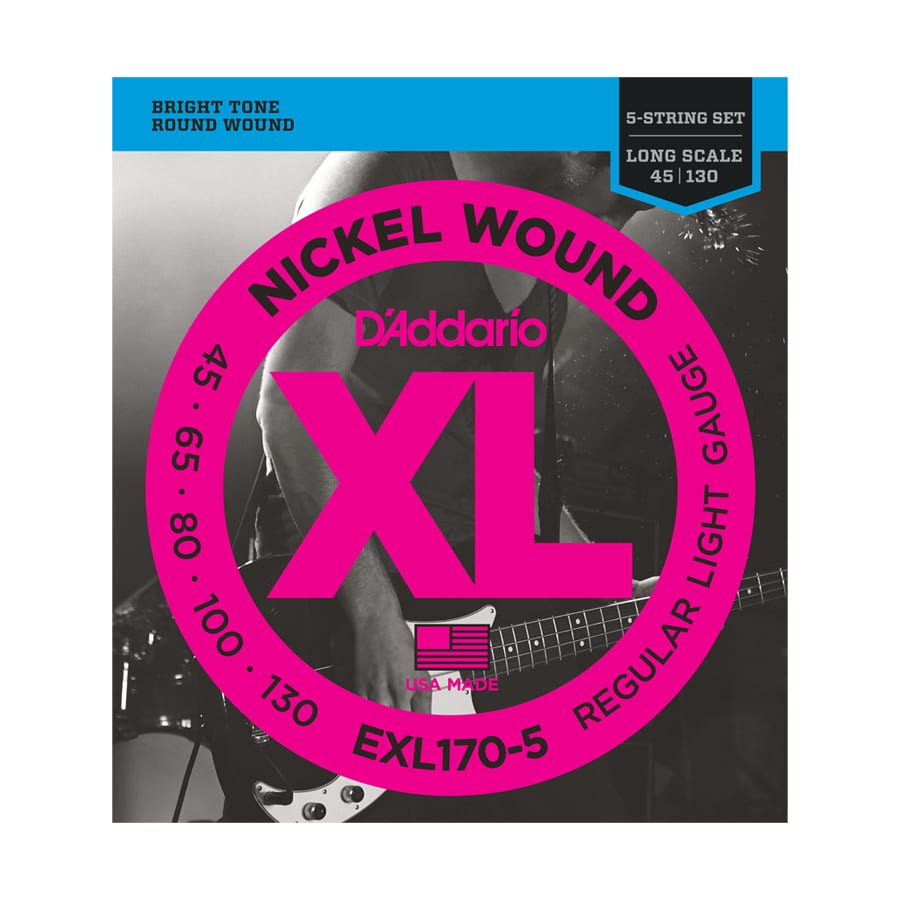 D'Addario EXL170-5 Nickel Wound Light Long Scale 5-String Bass Guitar Strings