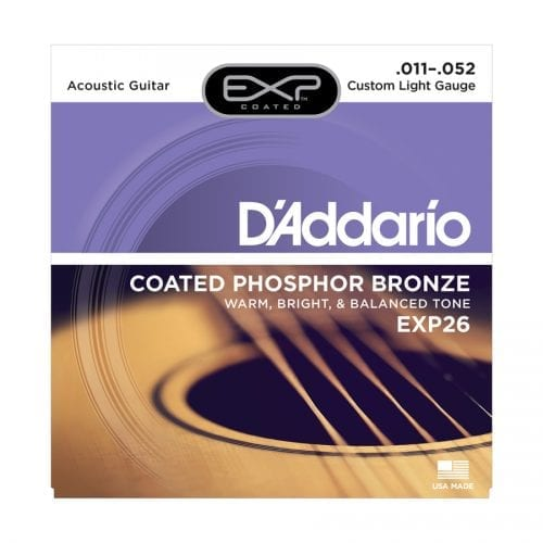 D'Addario EXP26 Coated Phosphor Bronze Custom Light Acoustic Guitar Strings