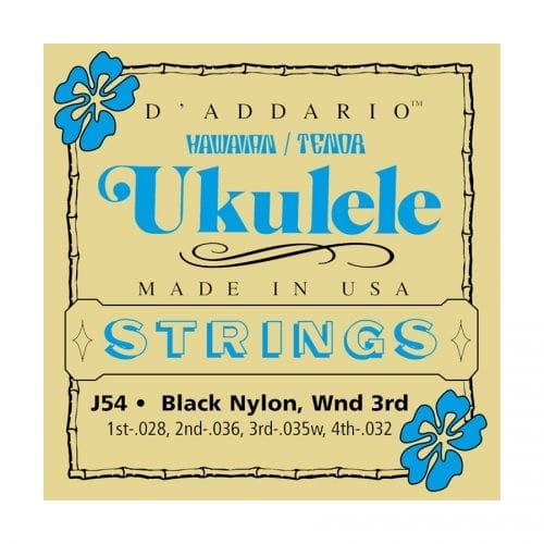 D'Addario J54 Black Nylon Hawaiin Tenor Ukulele Strings