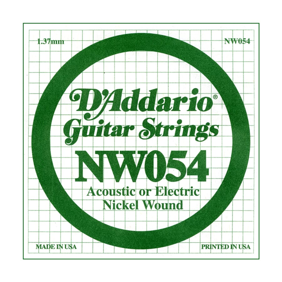 d 39 addario nw054 xl nickel wound single electric guitar string beau monde guitars. Black Bedroom Furniture Sets. Home Design Ideas