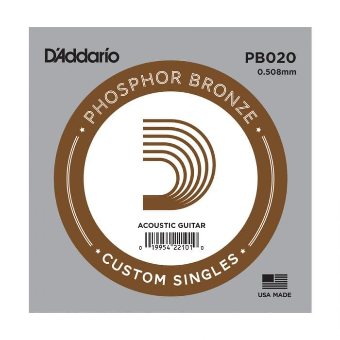 D'Addario PB020 Phosphor Bronze Wound Single Acoustic Guitar String