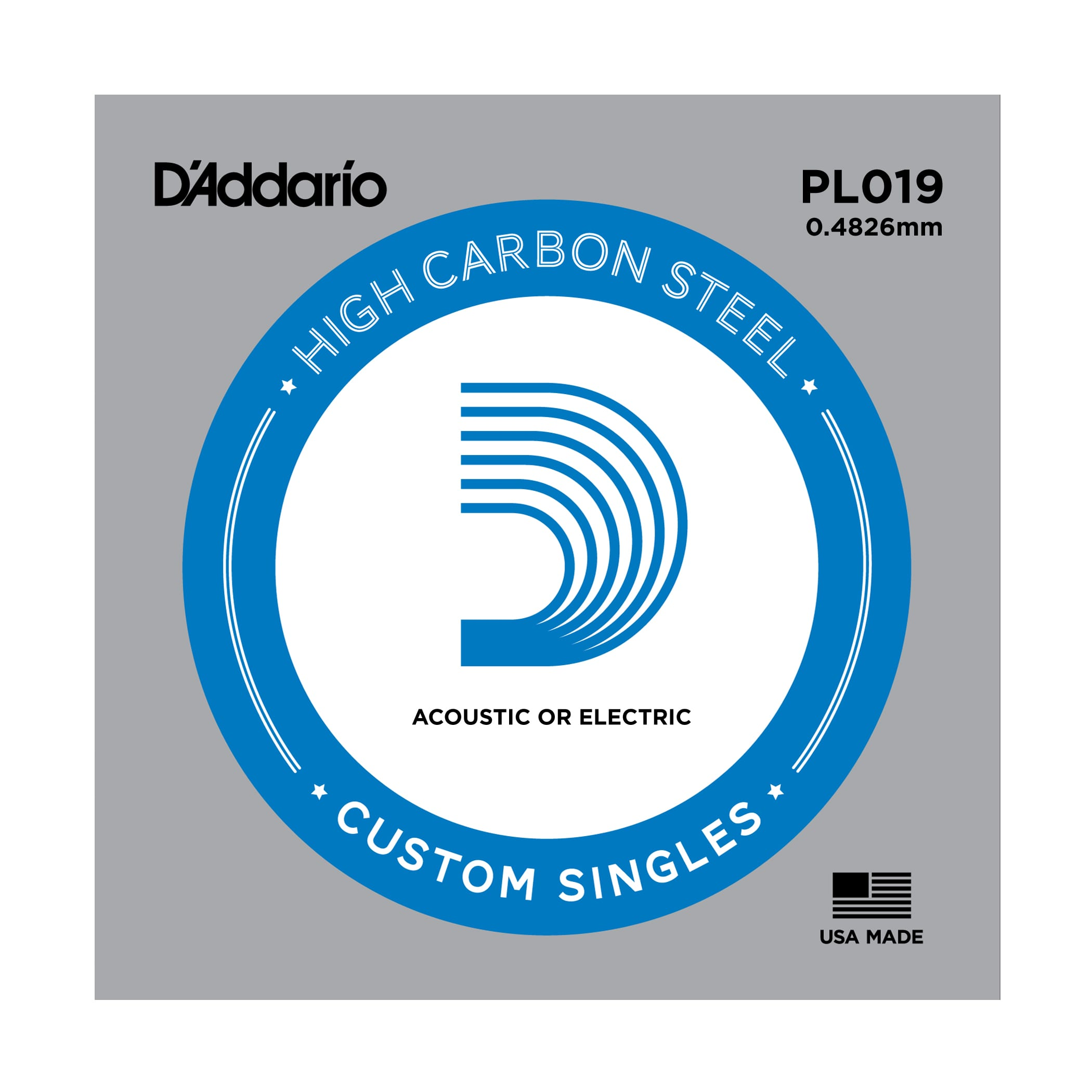 D'Addario PL019 Plain Steel Single Guitar String